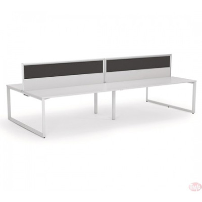 Straightline doublesided Desk including central screens: 2