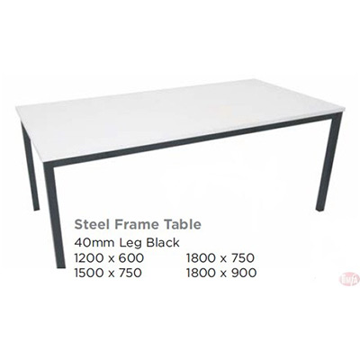 STEEL FRAME TABLE- BLACK, 5 SIZES