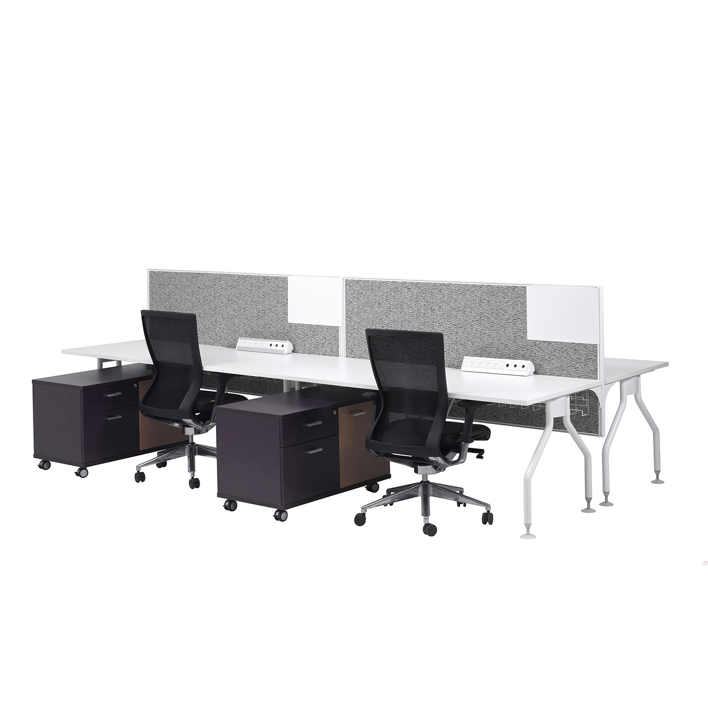 smart desk 4 person straight cluster