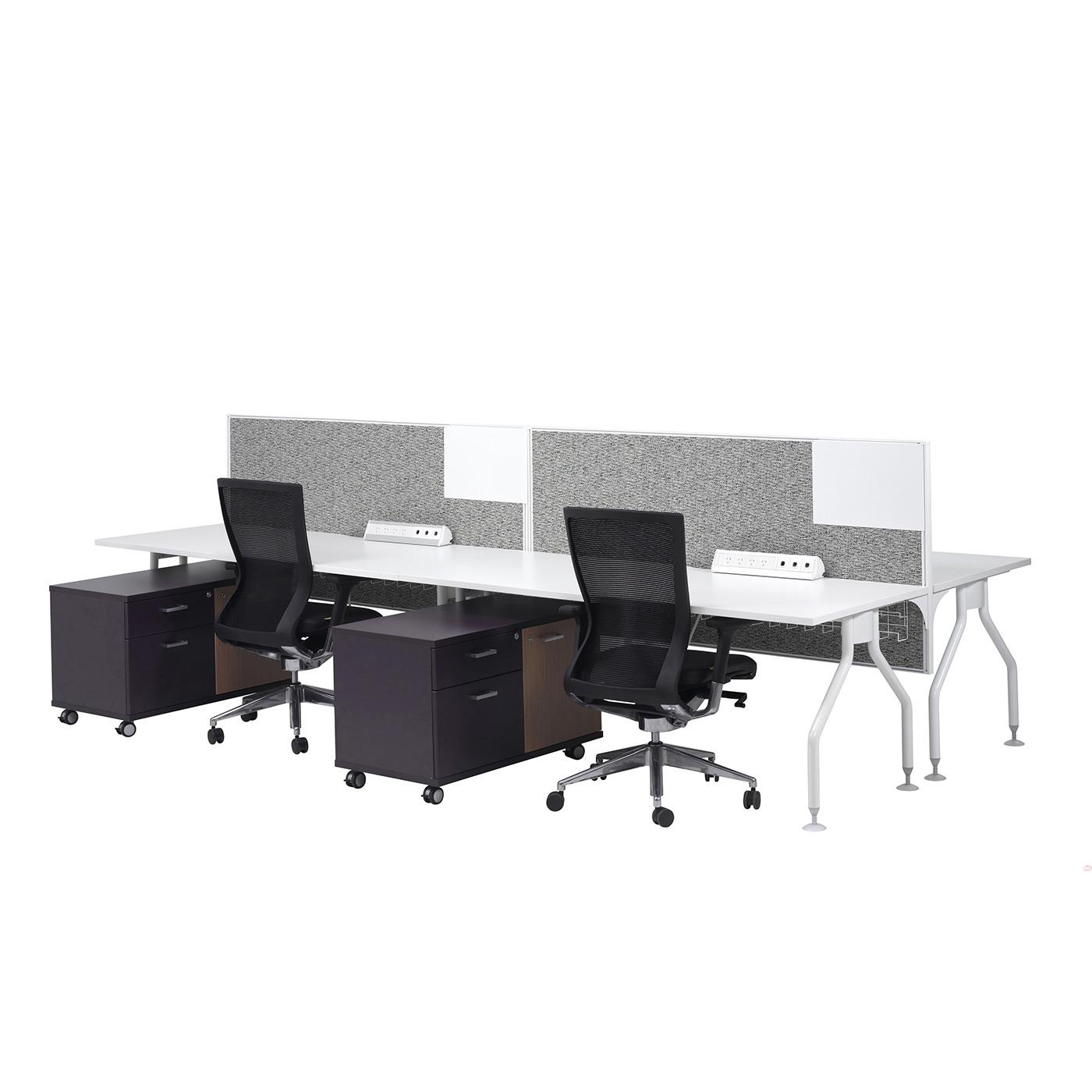 smart desk 4 person straight cluster
