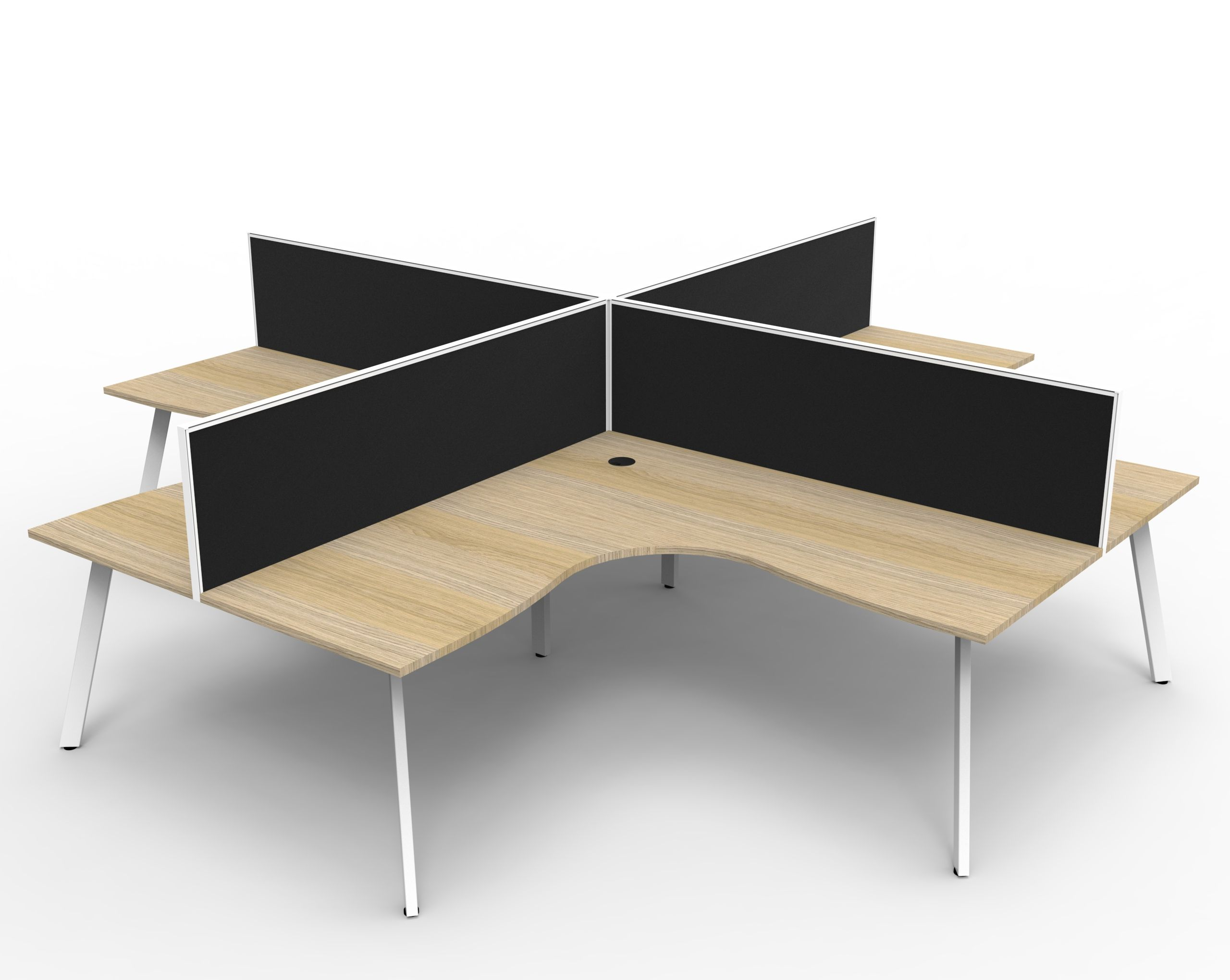 Eternity 4 Person Corner Workstation POD With Screens