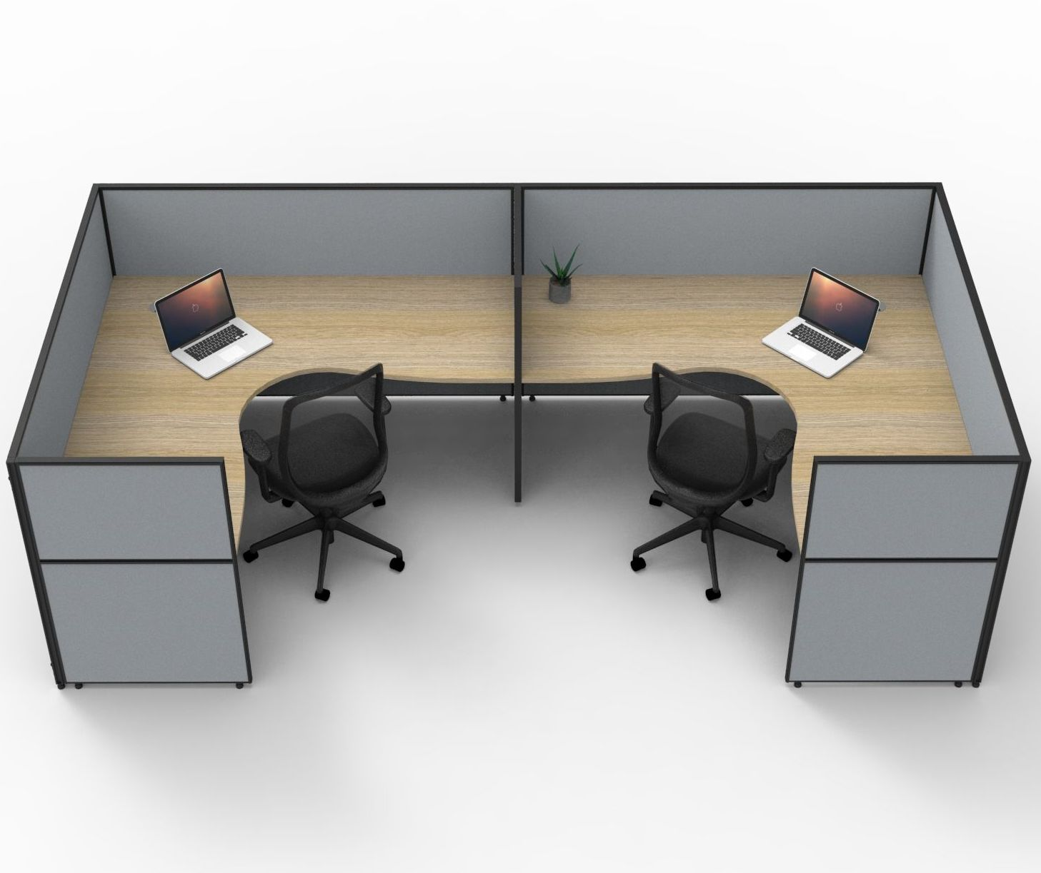 SHUSH30 U-Shaped 2P Workstation with Fully Enclosed 1200mmH Privacy Screens (3 Size Options)
