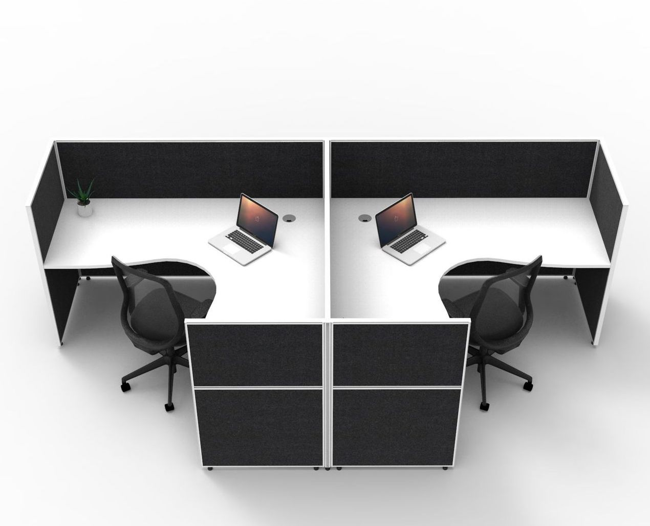 SHUSH30 T-Shaped 2P Workstation with Fully Enclosed 1200mmH Privacy Screens (3 Size Options)