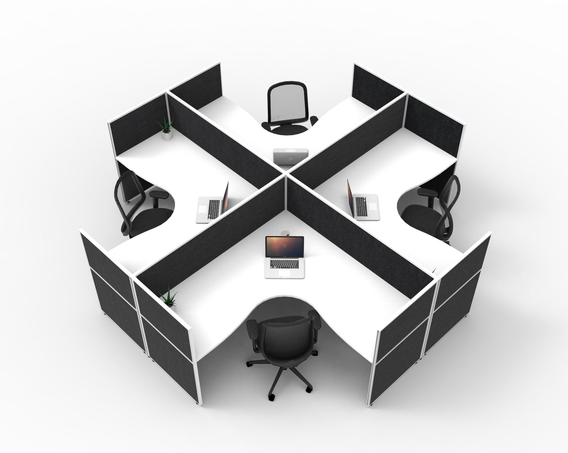 ALLURE 4-Person Workstation With Fully Enclosed 1200mmH Privacy Screens (3 Size Options)