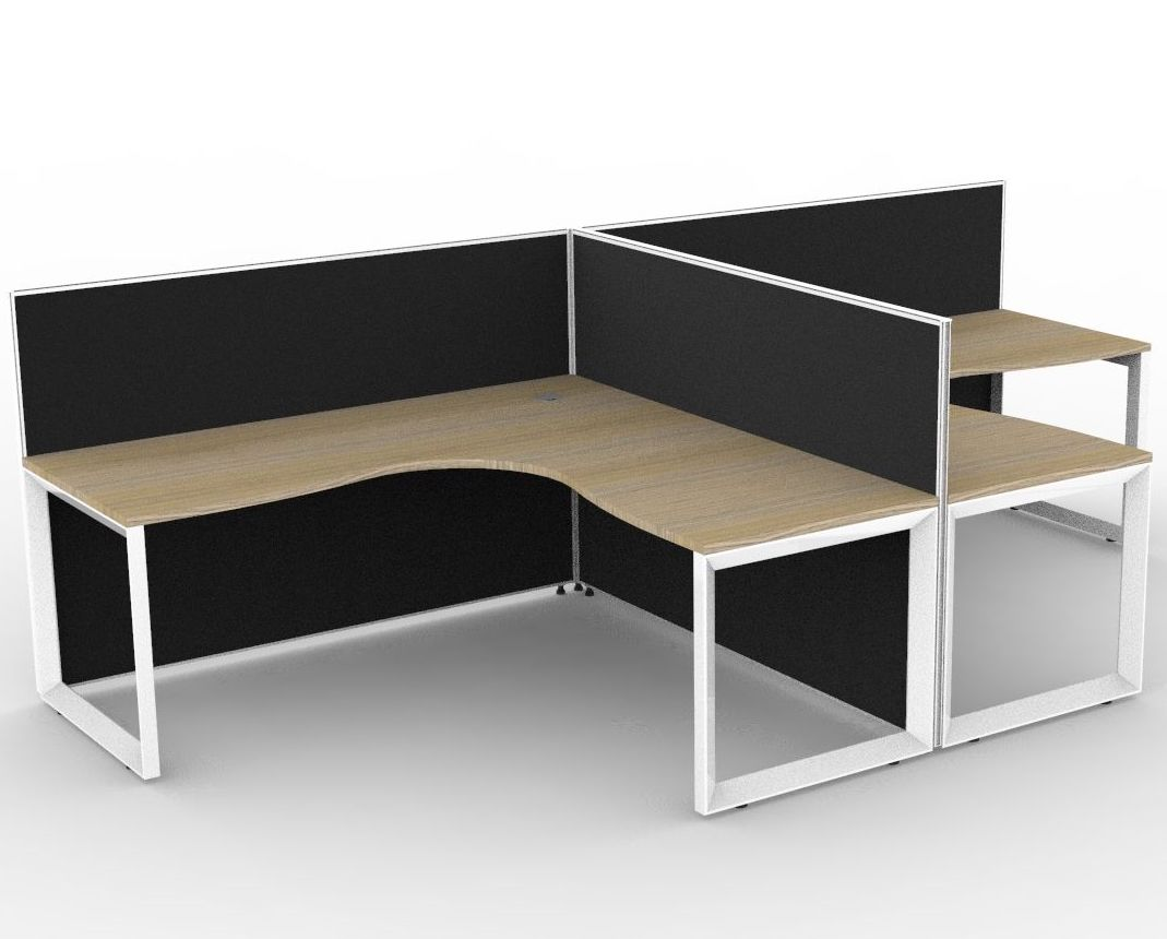 SHUSH20T Loop Leg 2P Workstation with 1200mmH Privacy Screens (3 Size Options)