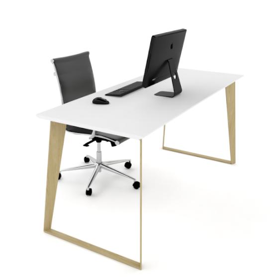 Razor Straight Desk (Woodgrain Frame)