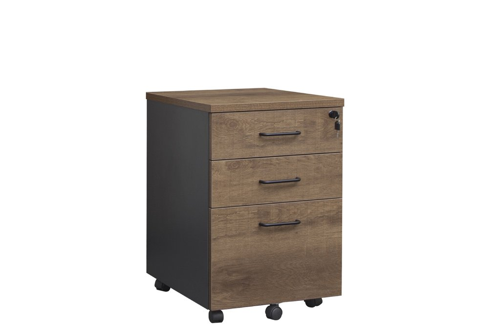 OP Lockable Mobile Pedestal (Regal Walnut/Charcoal)